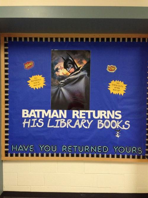 Batman Returns his library books - have you returned yours?